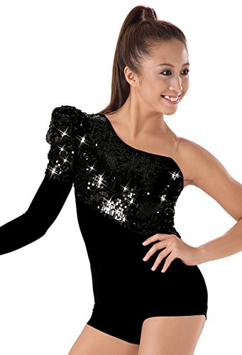 Dance Biketard Costumes - Balera Asymmetrical Dance Biketard Ultra Sparkle