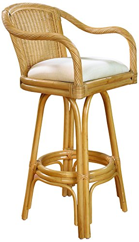 """Hospitality Rattan 102-6101-NAT-C Key West Indoor Swivel Rattan & Wicker Counter Stool in Natural Finish with Cushion, 24"""", Sunbrella Dupione Bamboo"""