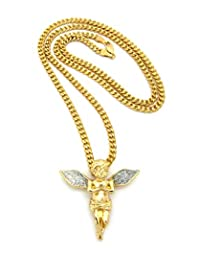 """Silver-Tone Dusted Extended Wing Praying Angel Pendant 3mm 24"""" Diamond Cut Cuban Chain in Gold-Tone"""