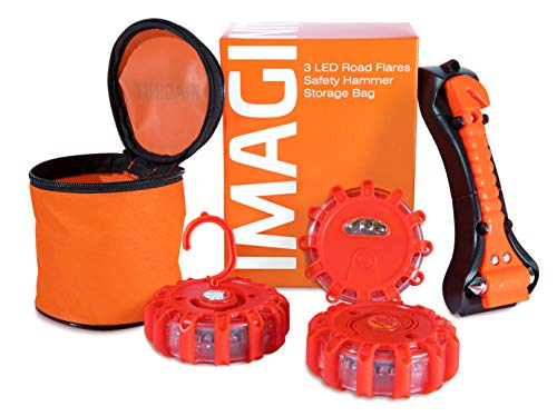 - 3 Pack Vehicle Emergency LED Road Flare Discs & Safety Hammer Kit - Flashing Warning Light Roadside Safety Beacons for Cars, Trucks & Boats with Steel Glass Breaker, Seatbelt Cutter & Bag by Imaginit