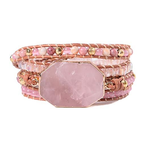 YGLINE Natural Rose Quartz Heart Chakra Wrap - Leather Heart Bracelet