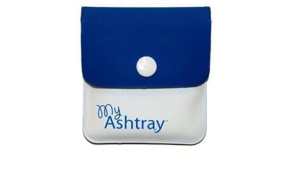 Mi cenicero marca bolsillo/Monedero cenicero en azul/blanco ...