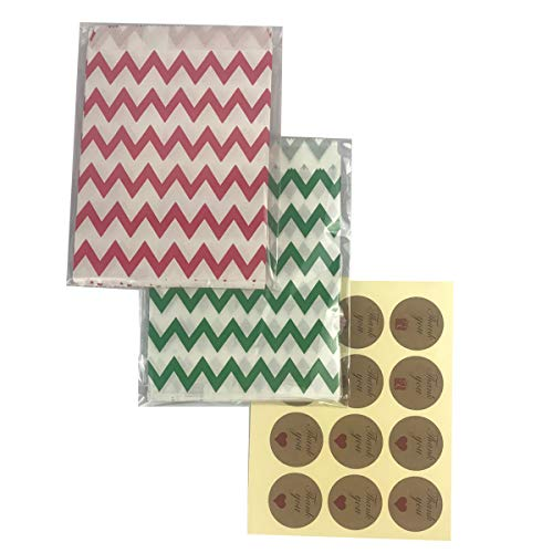 Party Bag 5 * 7 inch, 48 pcs Food Safe Kraft Paper and Ink, Natural (Biodegradable), Vivid Colored Candy Cookie Buffet Bags, with Chevron Pattern Printing, Red and Green.48 1.5 inch Stickers.