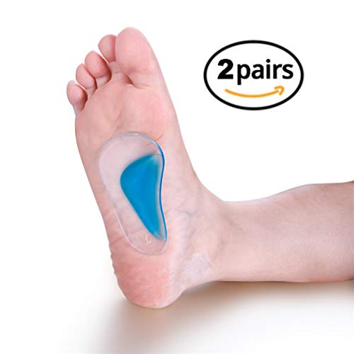 Arch Support Gel Silicone Insoles (2 Pairs), Plantar Fasciitis Support Insoles, Flat Foot Arch Support Foot Massager for Women Men, Supcare Superfeet Flat Feet Correction Foot Pain -