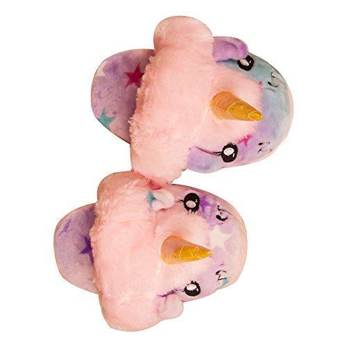 Colorfulworld Plüsch Einhorn Hausschuhe für Frauen Adult Geschenk Flauschige Gemütliche Einhorn Design Hausschuhe Pink1