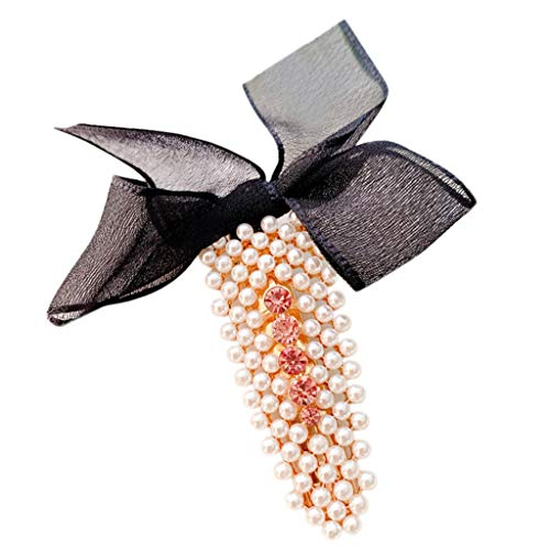 (Topgee INS Women's Cute Girl Pearl Beads Hairpin Hair Accessories Gift Trendy Sweet Romantic Pearl Button Sen Elegant Sweet Pearl Hairpin Bow Clip )