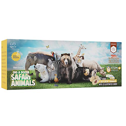 Dig a Dozen Safari Animals Kit – Break Open 12 Unique Wild Animal Eggs and Discover 12 Cute Animals with Learning Cards…
