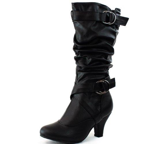 - Top Moda Women's Mid Calf Buckle Strap Pu Leather Comfortable Kitten Heel Knee High Boots Fashion Shoes,Auto-2v2.0 Black Pu 10