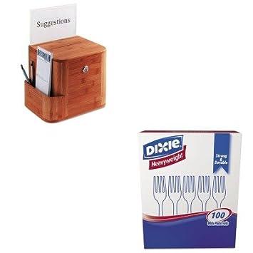 kitdxefh207saf4237cy - Value Kit - Safco bambú Sugerencia caja (saf4237cy) y Dixie - cubiertos de plástico (dxefh207): Amazon.es: Oficina y papelería