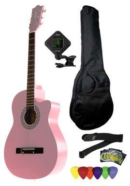 [해외]발열 3 4 크기 어쿠스틱 장면 전환 기타 패키지 핑크와 함께 연주 가방 기타 튜너 추천 및 스트랩 FV-030C-PK-PACK/Fever 3 4 Size Acoustic Cutaway Guitar Package Pink with Gig Bag Guitar Tuner Picks and Strap FV-030C-PK-PACK