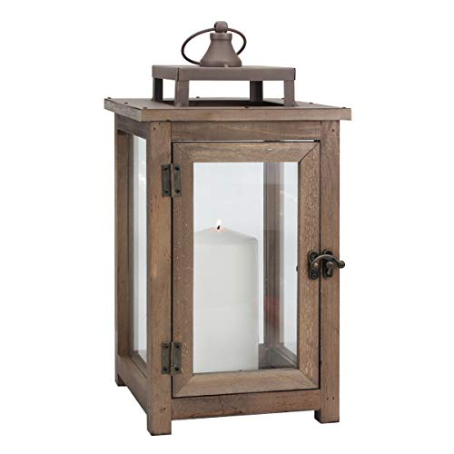 (Stonebriar Decorative Wooden Candle Lantern, Use As Decoration for Birthday Parties, a Rustic Wedding Centerpiece, or Create a Relaxing Spa Setting, for Indoor or Outdoor Use, Large)