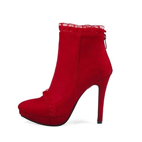VogueZone009 Damen Knöchel Hohe Rein Reißverschluss Hoher Absatz Stiefel mit Metallisch Rot