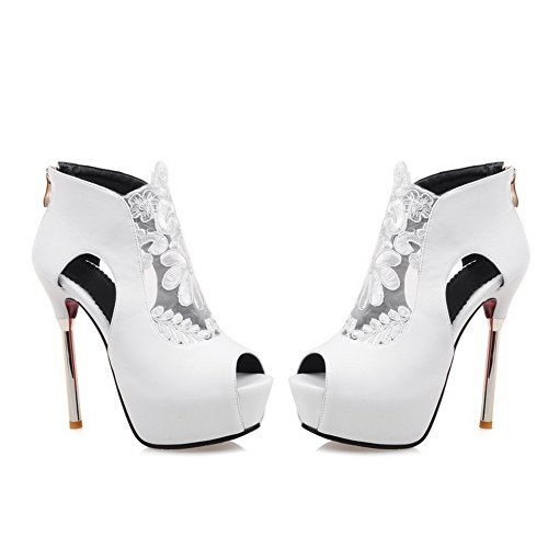 Frosted Shoes Peep Heels Open Toe White Women's Solid High WeiPoot zipper Pumps va6w57nq