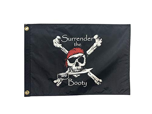 12x18 Black & Red Surrender The Booty Pirate Flag, Double Sided (Black Front & Red Back), All Weather - Booty Flag Pirate