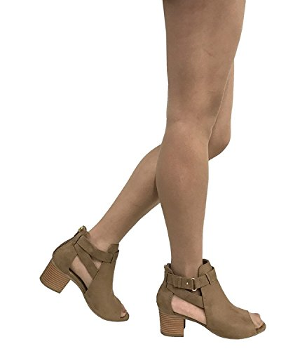 City Women's Fashion Classified Strap Ankle Bootie Heel Mid Tan Chunky Side Black Cutout Invest TxCrxZ