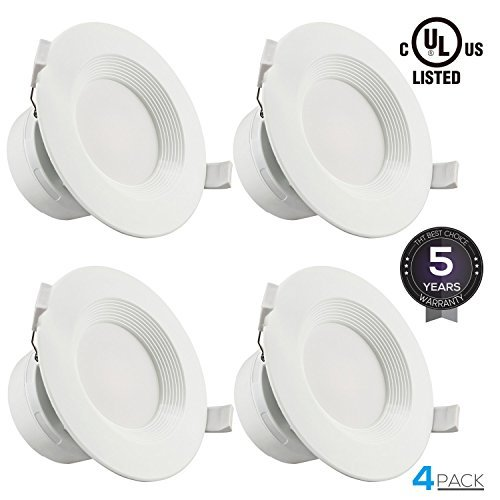 "4 PACK 4""LED Recessed Downlight with Junction Box, 7W (60W Equivalent) Dimmable LED Ceiling Light Fixture, IC-Rated & Air Tight, Wet Location, 2700K Soft White, UL-listed, 5 Years Warranty (Housing Airtight Lighting Type Recessed)"