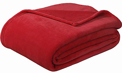 """Sedona House Flannel Fleece Blanket 280GSM Luxury Microfiber Flannel Super Soft Warm Fuzzy Cozy Lightweight Blanket for Bed Couch or Car Color Red Size Twin 60""""x80"""""""