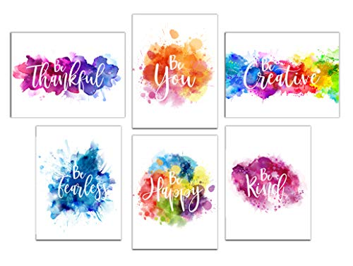 Colorful Abstract Paint Splats Inspirational Wall Art Prints - Set of 6 ( 8x10) UNFRAMED ()