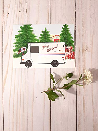 Mail Carrier Christmas Thank You Cards 10 pack (Cards Christmas Carrier Mail)