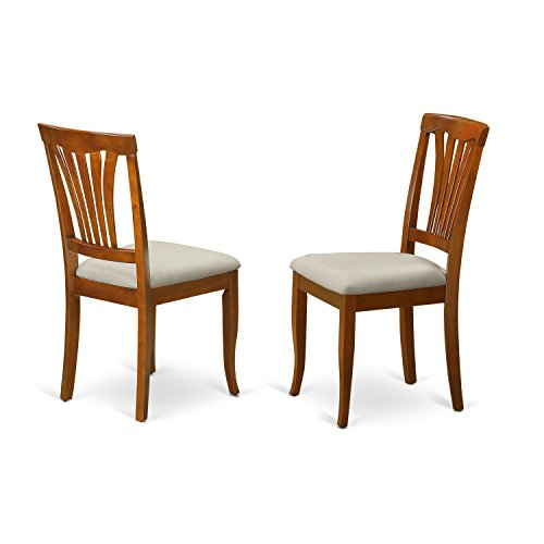 East West Furniture AVC-SBR-C Chair Set for Dining Room with Microfiber Upholstered Seat, Saddle Brown Finish, Set of 2
