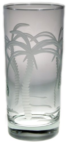 Palm Tree Cooler Glasses 15oz Set of 4 Nautical Tropical Home Decor