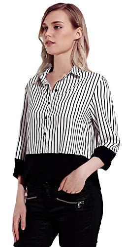 Dcontract Femme 4 V Lukis Bouton Pois Boyfriend Manche Rayure T Chemise Longue 3 Noir Col Shirt qqtSf68x
