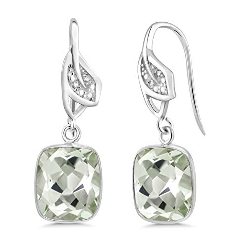 Amethyst Earrings Green Collection - Gem Stone King Sterling Silver Green Amethyst Dangle Earrings With Accent Diamond (10.00 cttw, 11X9MM Cushion Cut)