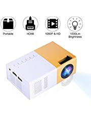 Tangxi Mini-LED-projector, LED-thuisprojector 720P, 1080P 10 tot 60 inch HDMI-multimedia-interface 16: 9/4: 3 videoprojector ondersteuning HDMI, USB, AV, VGA, Micro SD (wit + geel)