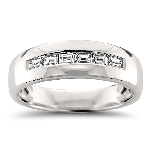 14k White Gold Baguette Diamond Men's Comfort Fit Wedding Band Ring (1/2 cttw, H-I, VS2-SI1), Size (Diamond Mens Fashion Band)