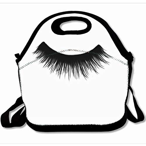 Ahawoso Reusable Insulated Lunch Tote Bag False Eyelash 10X11 Zippered Neoprene School Picnic Gourmet Lunchbox