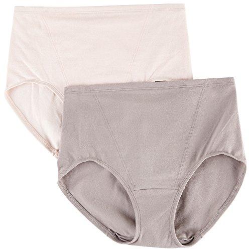Bali Bow (Bali Women's Shapewear Shaping Briefs Light Control 2-Pack, Steel/ Pink, Large)