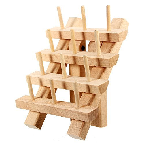 - KINGSO 12 Spool Wooden Bobbin Thread Rack and Organizer for Sewing Quilting Embroidery Craft (12 Spool)