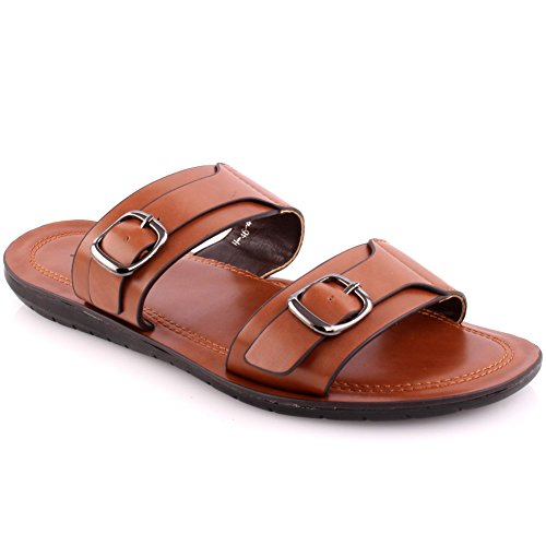 Sandals Size 'Kevin' Slippers Men's 11 Unze Summer Beach New and UK Slider Summer Casual Brown UK p7w4Uq48