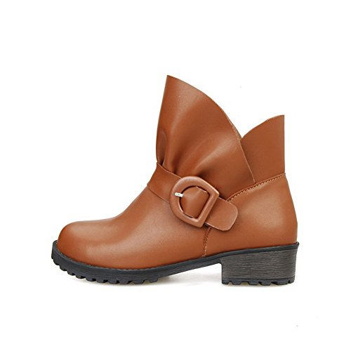 Heels Round Boots Solid Closed Soft Ankle Women's high Low Allhqfashion Material Brown Toe tgvqa1