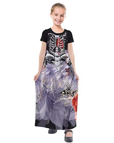 PattyCandy Girls Halloween Costume Skeleton Halloween Kids Maxi Dress - 12