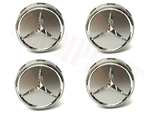 F/ür Mercedes-Benz 4 St/ück AMG Radnabenabdeckung AMG Chromshadow Dark Metallic Stern Nabendeckel 75mm Nabenkappen Radkappen A0004000900 9790 im Zentralverschlussdesign Silber Grau