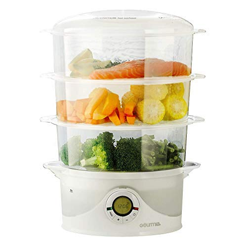 Gourmia Electronic Digital 3 Tier Vegetable & Food Steamer - BPA Free - 9.5 Qt - 800W - Clear - Free Recipe Book Included - GFS300