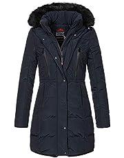 Geographical Norway Winterjas voor dames met kraag van imitatiebont