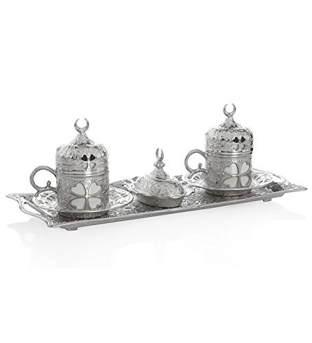 11 Pieces Set of 2 Turkish Greek Coffee Espresso Cup Saucer Set for Serving - Vintage Clover Design Ottoman Arabic Gift Set, Silver