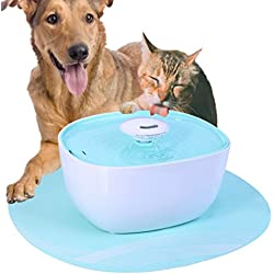USDREAM 68oz/2L Dog and Cat Automatic Water Fountain Electric Filters Pet Waterer Dispenser Small Animals Auto Drinking Fountains with Built-in LED Nightlight and Silicone Mat