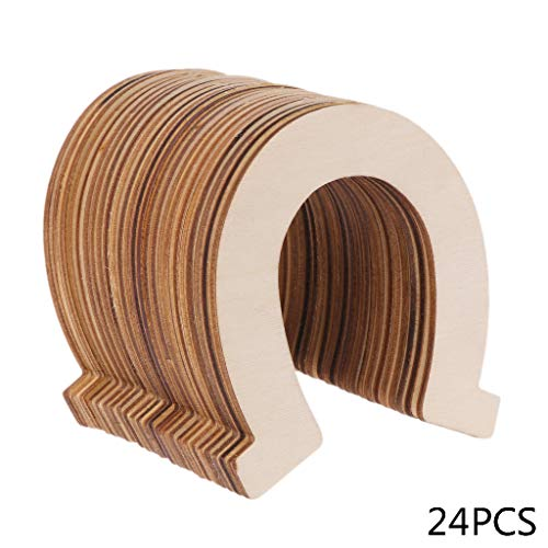 dfsdmlp hot Sales!24pcs Wooden Laser Cutting DIY Unpainted Horseshoe Unfinished Chip for Scrapbook Painting Decorate Crafts ()