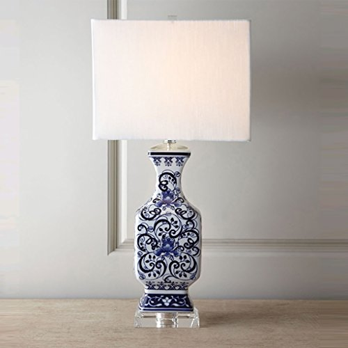 LIN XIAO HAO mayu European Table Lamp with Switch Modern Classical E27 Table lamp with Personality Blue and White Porcelain Hand Painted Ceramic Base Desk Lamp