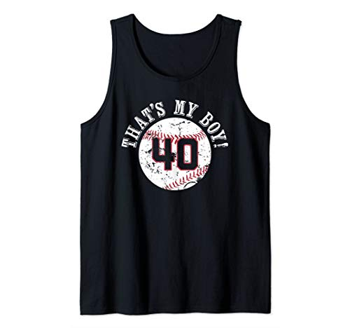Unique That's My Boy #40 Baseball Player Mom or Dad Gifts Tank Top