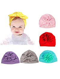 MEZOOM Baby Girl Turban, 6pcs India Toddler Cap for The Baby from 3 to 12 Months