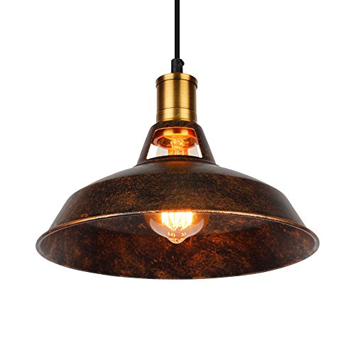 Industrial Pendant Light, Vintage Pendant Light, Metal Handing Lamp, Edison Iron Pendant Lighting, Pendant Light Fixture, Bronze Pendant Lights, Loft Pendant lamp for Restaurant,Bar, Home 10.6in(Rust) by ASCELINA