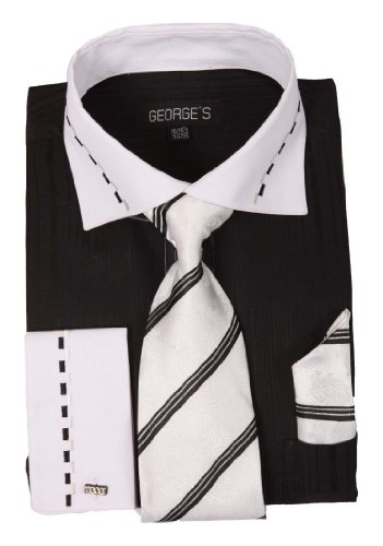 George's Two-tone Shirts w/ Matching Tie, Hanky & French Cuffs AH621-BK-19-19 1/2-36-37