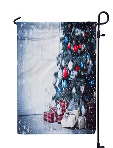 Soopat Christmas Tree Seasonal Flag, Christmas Living Room with Stars and Snow Blue Weatherproof Double Stitched Decorative Flags for Garden Yard 12 L x 18 W Welcome Garden Flag
