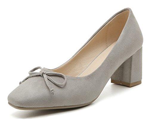 Aisun Donna Trendy Punta Squadrata Tacco Medio Basso Taglio Dressy Slip On Pumps Shoes Con Fiocco Grigio
