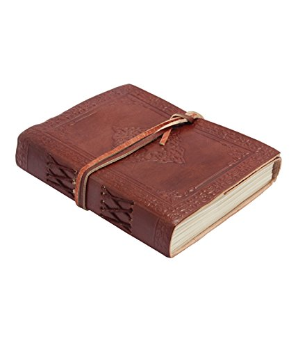 Vintage Leather Journal Writing/Travel Notebook - Antique Handmade Embossed Designer Leather Bound Daily Notepad Unlined Paper 4.7 (Width)X 1.5 (Depth) X 6(Height) Inches Vintage Brown by Tortoise