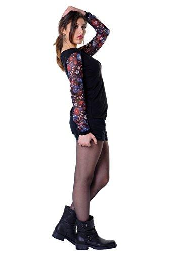mágica blusa con manga larga e delicado seleccionado dibujo tejido de 3Elfen / Camiseta manga larga suelta flor d'oro azul